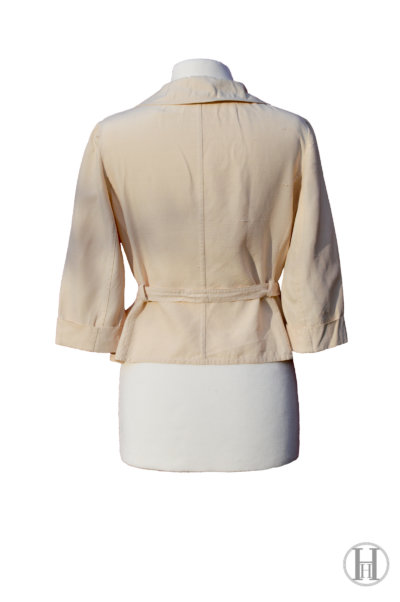 Max Mara vintage Beige Silk Blouse with belt, back