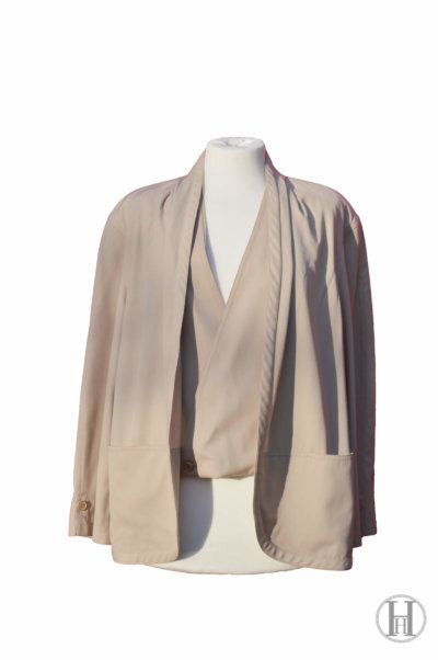 Gianfranco Ferrè vintage wool double blazer jacket waistcoat beige front
