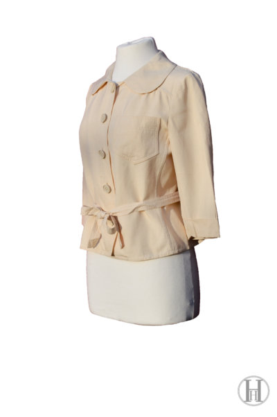 Max Mara vintage Beige Silk Blouse with belt, side view