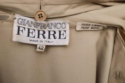 Gianfranco Ferrè vintage wool double blazer jacket waistcoat beige label