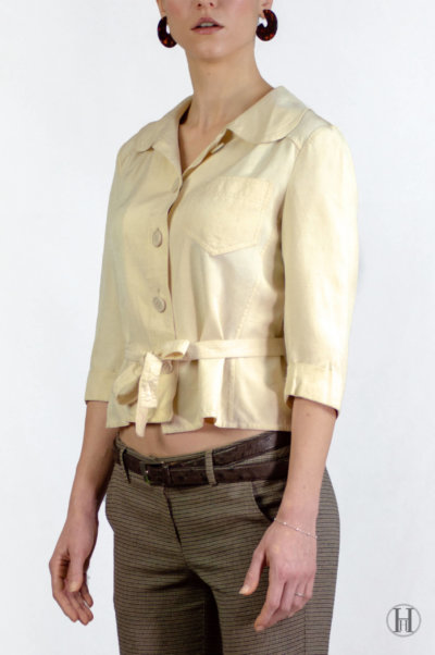 Max Mara Vintage Beige Silk Blouse with belt 3/4