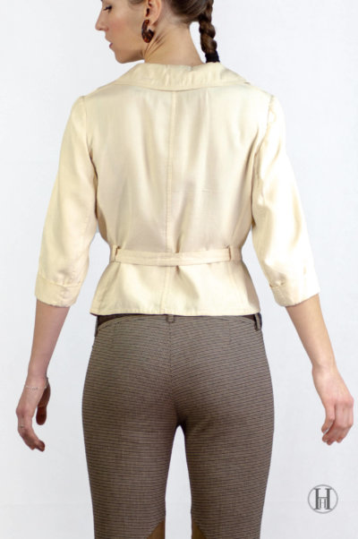 Max Mara Vintage Beige Silk Blouse with belt back