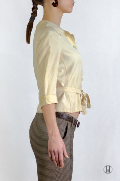 Max Mara Vintage Beige Silk Blouse with belt side