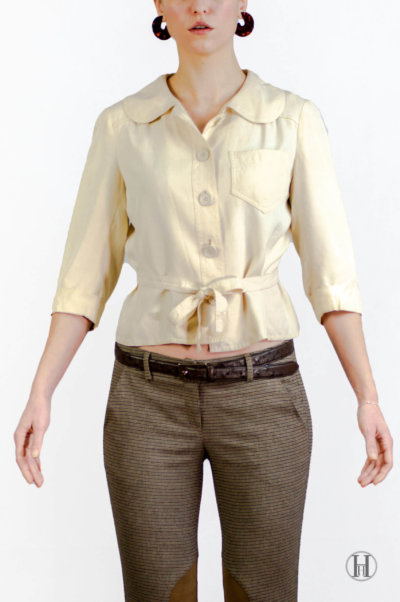 Max Mara Vintage Beige Silk Blouse with belt front