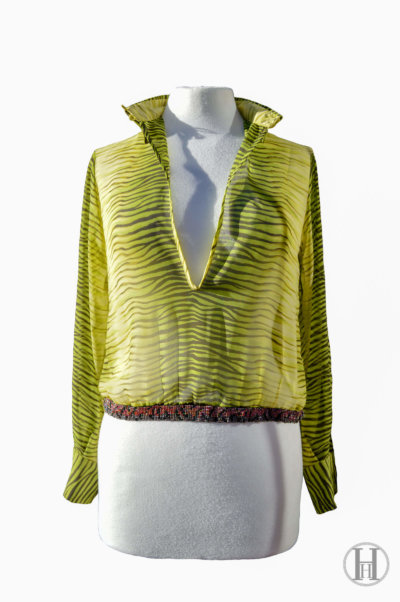 Just Cavalli lime green Zebra Blouse front open