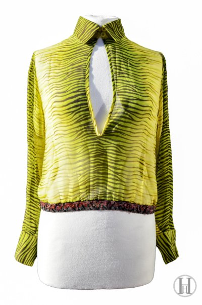 Just Cavalli lime green Zebra Blouse front close