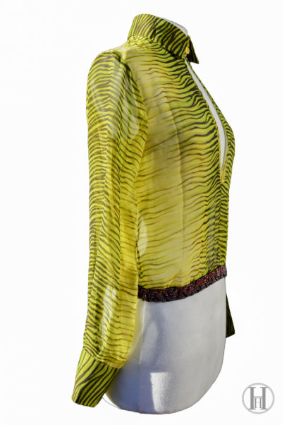 Just Cavalli lime green Zebra Blouse side