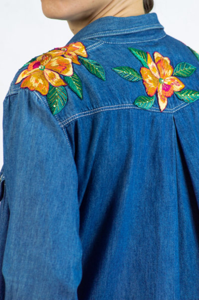 Bluemarine Vintage Woman Denim Shirt Detail
