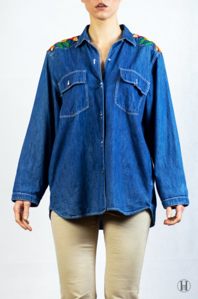 Bluemarine Vintage Woman Denim Shirt Front