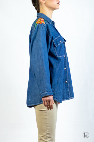 Bluemarine Vintage Woman Denim Shirt Side