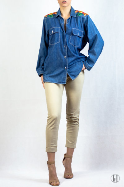 Bluemarine Vintage Woman Denim Shirt Model sexy